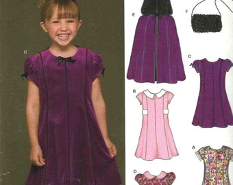 New Look 6451 Girl's hooded cape and dress panels with/out collar short cap sleeves contrast and shoulder bag Size 3-4-5-6-7-8 uncut
