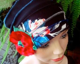 Womens hat chemo hat soft stylish chemo gift cloche flapper hat black red blue