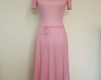Vintage 60s/70s Bubblegum pink knit dress summer dress scoop neckline