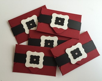 Handmade Santa Suit Gift Card Holders, Christmas, Gift Card