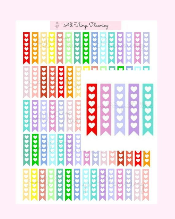 Heart flags to do list planner sticker printable digital