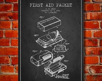 1922 First Aid Packet patent Canvas Art Print, Wall Art, Home Decor, Gift Idea