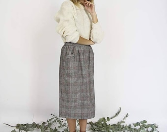 High Waisted Pleated Wool Skirt