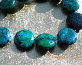 5 round 12 mm natural stone with a beautiful green chrysocolla stones