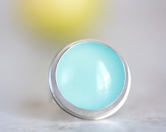 Blue Chalcedony Ring, Aqua Chalcedony Ring, Blue Chalcedony Round Ring
