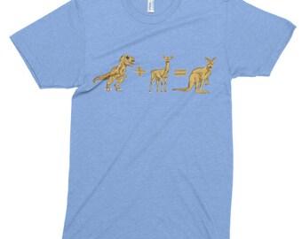 T-Rex Deer Kangaroo T Shirt, Printed On American Apparel, Tri-Blend, Funny Dinosaur Tshirt, Tyrannosaurus Rex Tee, Mens Womens
