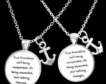 Best Friend Gift, Anchor True Friendship Long Distance Necklace, Best Friend Necklace, Sisters BFF Necklace Set