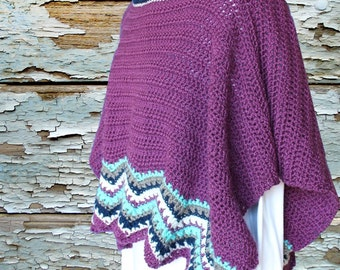 Crochet Pattern for Poncho, Crochet Cape Pattern with Chevron Edging, Crocheted Cape Pattern, Ripple Crochet Patterns