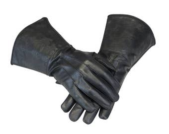 Medieval Renaissance Gauntlet leather cosplay gloves long arm cuff