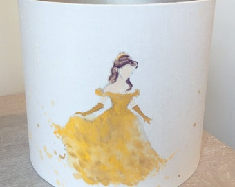 Hand painted 'belle' beauty & the beast lampshade