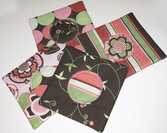 Set of Four Colorful Coasters