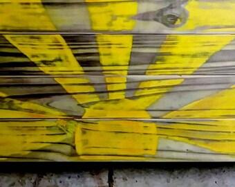 Handpainted distressed sun on stained wood panel-sunshine-sunny-rayofsunshine-shabbychic-farmhouse-countryliving
