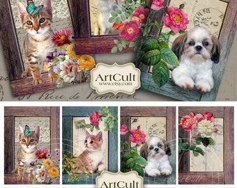 Printable Gift Tags BEYOND THE FRAME Digital Collage Sheet Downloadable pets images greeting cards vintage ephemera paper art cult graphics