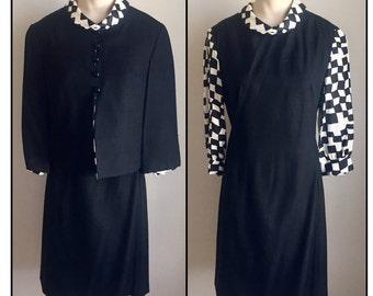 Vintage 1960s Misses' Black White Check Dress Jacket Set Suit XS 0 2