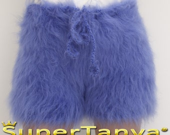 Made to order hand knit shorts, thick and fuzzy mohair short pants in blue by SuperTanya