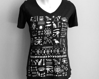 L- Black V-Neck Neck Slub Tee with Egyptian Screen Print