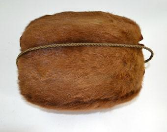 Vintage Reddish Brown Mink Real Fur Muff, Hand Warmer, Winter Weather