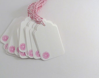 Pink Grapefruit Slice Stamped White Gift Tags with Pink and White Bakers Twine Citrus Party Tag Sangria Tag