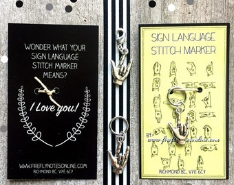 ASL stitch marker, 10 mm snag free round or removable. Sign language