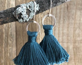 TASSEL Earrings | Blue Gray | Sterling Silver