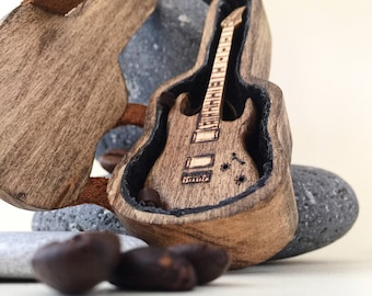 Guitar pick holder & Mini guitar Gifts for boyfriend Collectible guitar Ibanez Guitar gifts for him Engraved personal gift for music lovers