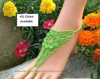 Lime GREEN Barefoot Sandals WEDDING Foot Jewelry Anklet Toe Rings Beach Sandals Women's Shoes Body Chain Jewellry