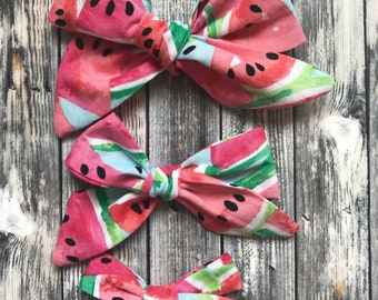 Watermelon -Hand tied bow