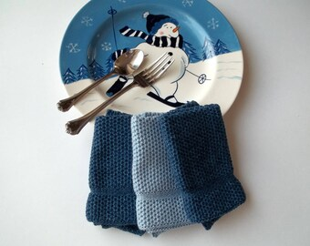 Dishcloths Knit in Cotton in Denim and Chambray, Knit Washcloths, Wash Cloth, Dish Cloth