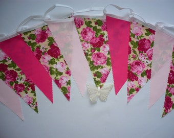 Fabric Bunting Shades of Pink - Wedding / Celebration / Party Decor 3m - Rosie
