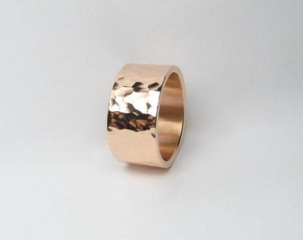 9mm Wide Hammered Copper Ring Made to Order Engraving Available
