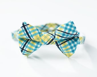 Baby Boy Bow Tie - Teal and Yellow Plaid - Boys Bowtie