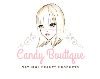 Candy Boutique-Beauty - Girls Couture - OOAK Character Illustrated Premade Logo design-Will not be resold