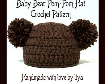 Baby Bear Pom-Pom Hat - PDF PATTERN - Crochet - SIZE Newborn Infant 0-3 months