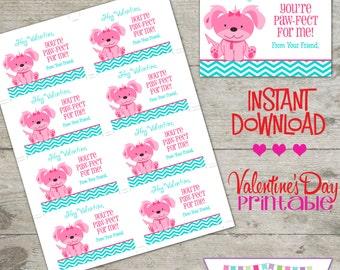 Valentine Puppy - Printable Valentine's Day Cards - INSTANT DOWNLOAD