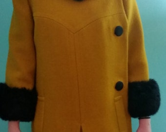 1960's Gold Wool and Faux Fur Trim Winter Jacket