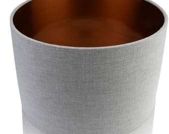 Pebble Grey Linen Mix Cylinder / Drum Lampshades/ Pendant  Copper Interior