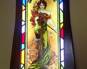 Alphonse Mucha-Spring,Stained Glass Window Panel with lighting system,Original hand-painted by Sekyt Art Studio