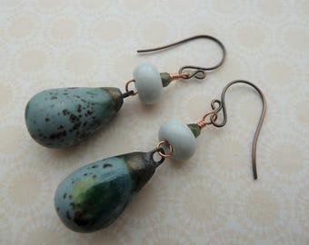 lampwork and copper grey earrings, UK handmade jewellery