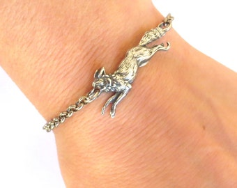 Steampunk Small Fox Bracelet Sterling Silver Ox Finish Small Fox