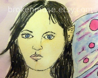 Sad fairy girl - Watercolor Painting Matted to 8x10 -  Sorrowful Fairy