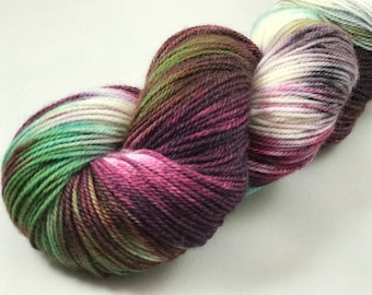 "Hand Dyed Sock Yarn, Superwash Merino, Cashmere, Nylon, 382 Yards, 100g ""Amaranth"""