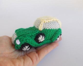 Mini Retro Luxury Car Knitted Stuffed Ornament - Vehicle Ornament - Hot Rod Car Model - Stocking Stuffer - Car Decor - Car Collector Gift