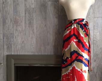 Vintage 1970s Wrap Around Skirt, Made by Up Beat Inc. Multi Colored Size Small