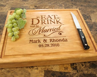 Personalized Chopping Block, 12x15~1&3/4 thick Walnut/Cherry/Sapele, Engraved Butcher Block  - Wedding, Anniversary, Housewarming Gift. 012