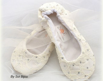 Ivory Lace Ballet Slippers with Crystals Wedding Ballet Shoes with Ties