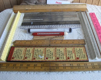 Lot of 15 Rulers Vintage Measuring Tools and Rulers Lot