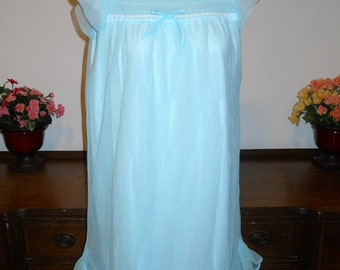 Vintage Blue Chiffon Nightgown ~ 1960's Blue Smocked Nightgown ~ Nylon Chiffon ~ Flirty Nightgown ~ Lolita ~ VLV