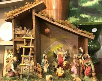Italian NATIVITY SET * Christmas Creche * 11 Figures & Manger * Italy