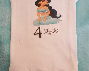 Princess Jasmine themed monthly onesies, Month By Month Princess theme onesies