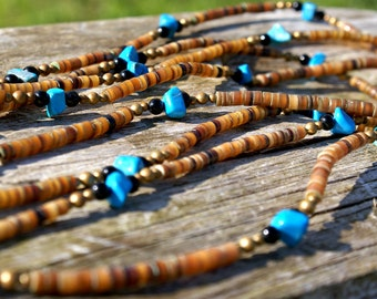 Turquoise and Shell Graduated Four Strand Necklace Hippy